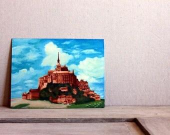 original acrylic painting castle picture le mont saint michel abbey monastery france