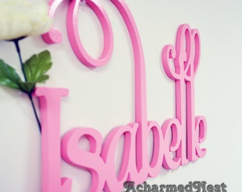 wooden script name word or phrase painted large cursive letters perfect for your home accent wall childs room or nursery