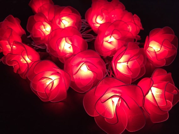 Red String Lights For Bedroom : Fairy string lights 20 Red Rose Flower String by fairylighting