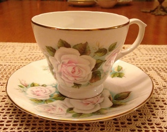 Beautiful Vintage Mayfair Staffordshire Light Pink and Green Cup and Saucer