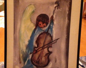 "Sweet Little Seventies De Grazia ""Angel Music"" Wooden Plaque"