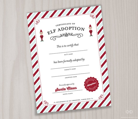 Printable Elf Adoption Certificate