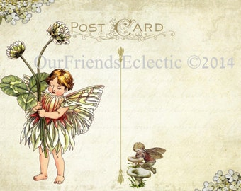 Flower Fairy Invitation, fairy invite template, postcard invitation blank, add your own text, you print, digital download