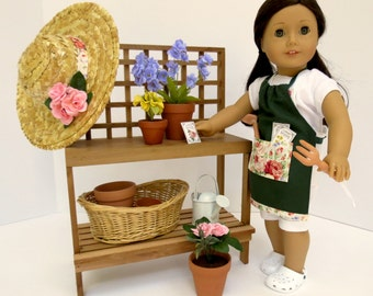 DOLL POTTING TABLE Collection For American Girl ®, 18-inch Dolls with Potting Table, Pots, Plants and more!