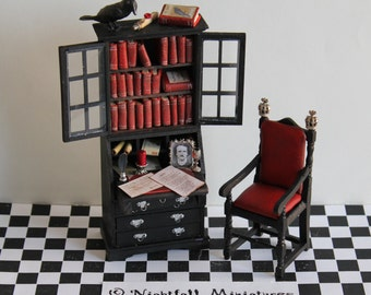 Dollhouse Miniature Gothic Edgar Allan Poe the Raven Study Desk in  1:12