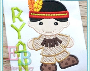 Indian Boy Applique - This design is to be used on an embroidery machine. Instant Download