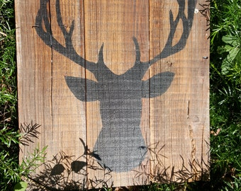 Wood sign - Deer silhouette - Deer head - Deer Hunting - Sign on rustic reclaimed barn wood.