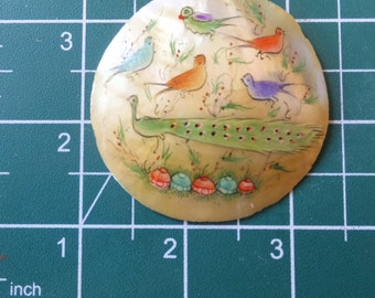 Gorgeous Hand Painted Shell Pendant