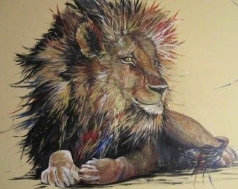"Original acrylic painting, Giclee PRINT. Lion, ""Many Colored Mane"""