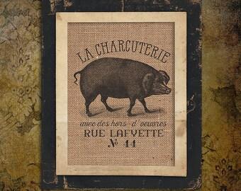 Burlap Print | La Charcuterie | French | Pig | Pork | Kitchen |#0020