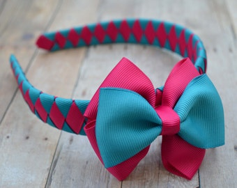 Turquoise and pink headband, Girls headband with removable bow, headband and bow