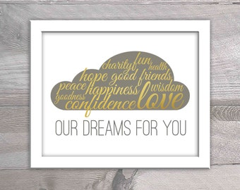 Gray and Gold Nursery Printable - Our Dreams for You - Nursery Decor Instant Download - Gold Nursery Decor - Cloud Nursery Decor-Cloud Print