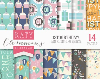1ST BIRTHDAY digital paper pack. Baby birthday patterns. Scrapbook printable sheets - instant download.