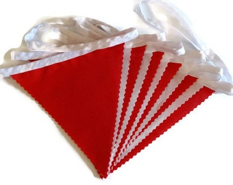 3m Length -  Bunting in Plain Red and White - Cotton Fabrics - Birthday Party Football Sport
