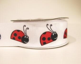 "5 yards of 7/8 inch ""Ladybug"" grosgrain ribbon"