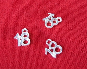 "10pc ""18"" charms in antique silver style (BC152)"