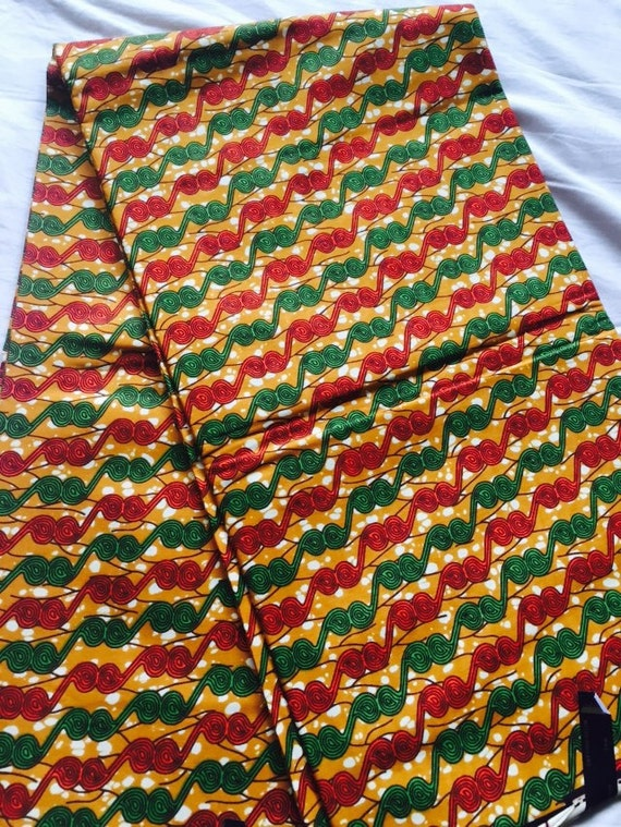Green Red Amp Orange Yellow African Fabric By Africanprintfabric