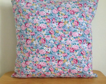UNIQUE Pastel Blue Floral Cushion COVER with hints of Pink, Yellow and Cream, Home Decor, Home Furnishings, Bedroom Decor, Decorative Pillow