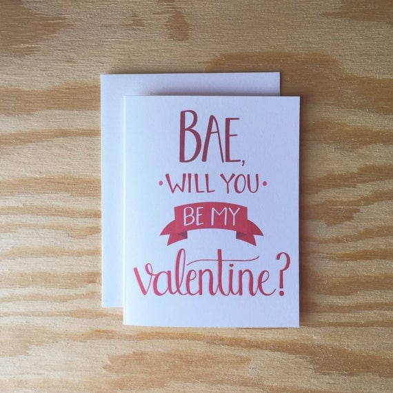 Bae Will You Be My Valentine greeting card, Happy Valentines Day, love, trendy, valentines day, red