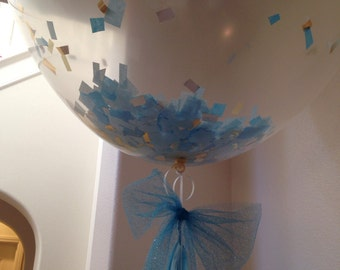 "Giant 36"" clear balloon  bow confetti baby shower blue and gold bow tassel"