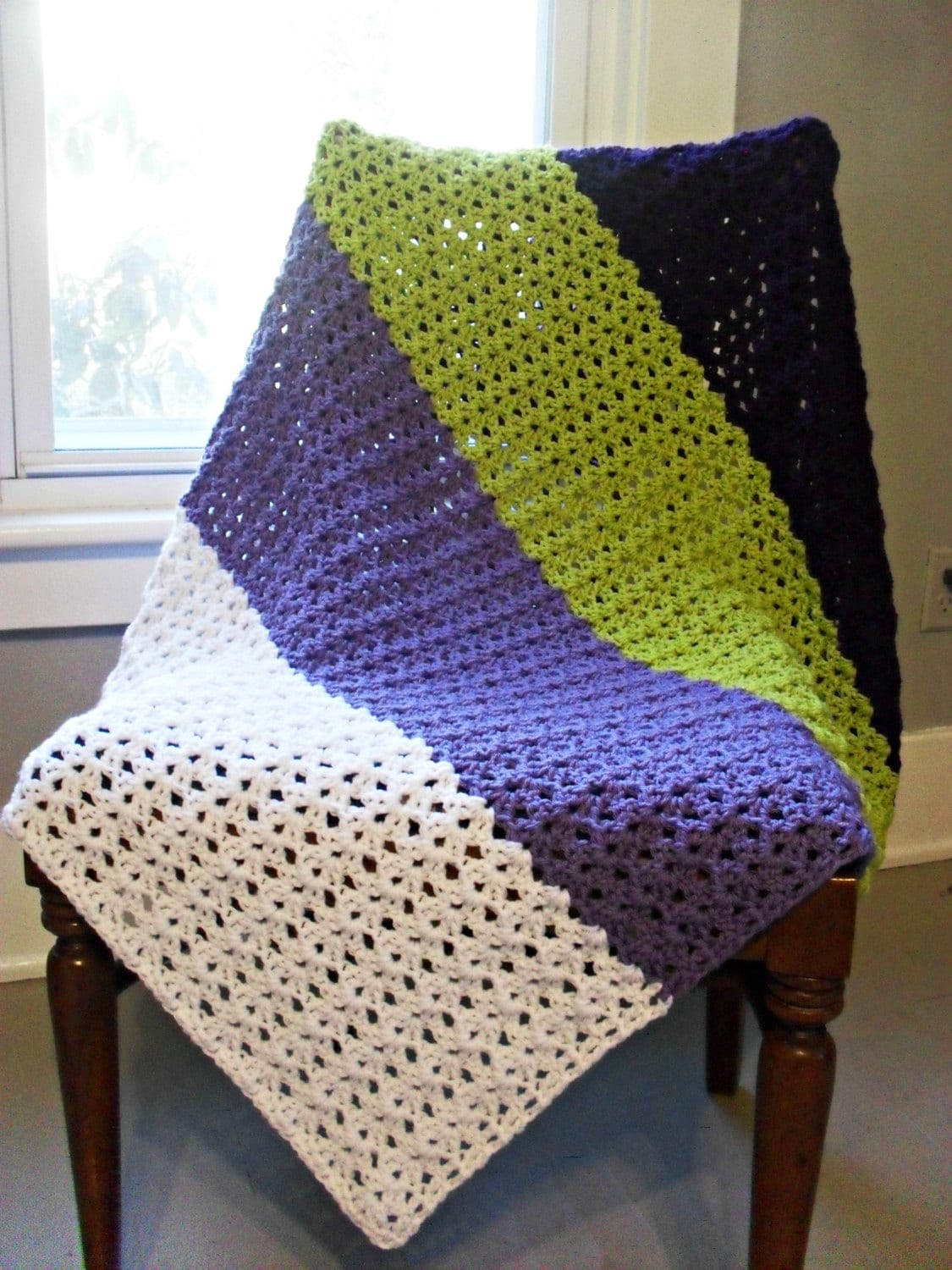 Purple Striped Lap Blanket Sofa Throw Baby By Theblackelephant