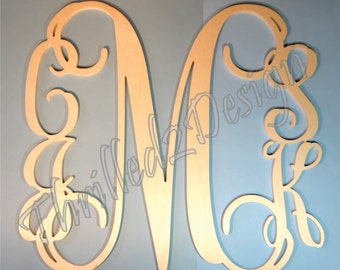 Family Vine Monogram Up To 5 Letters - Wooden - Home Decor