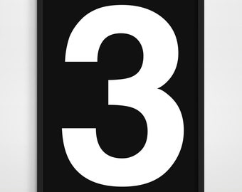 Number 3, Three, Scandinavian Minimalism Typography Poster, Office Studio Poster Simple Black and White.