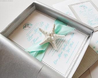 Unique Beach Wedding Invitations, Beach Wedding Invitation in a Box, Starfish Invitations