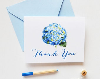 Floral Thank You Greeting Cards Set of 8 : Watercolor Blue Hydrangea Flower