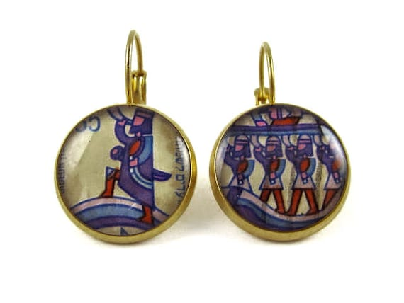 2 Micron Gold Plated Israeli Upcycled Postage Stamp earrings /// Hand made /// One of a kind