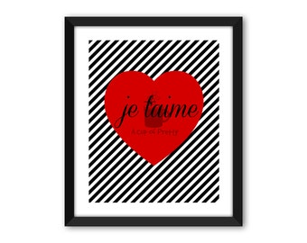 Je t'aime Print // I Love You // 8x10 Printable // Black and White striped poster art print