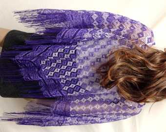 Poncho top,Purple,lace,Poncho, Fringed