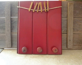 Red Photo Board, Clothespin Picture Frame, Red Message board with knobs, Entryway Decor, Kids Art Display Board, Rustic Photo Board