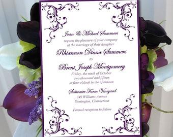 "Printable Wedding Invitation Template Eggplant Purple ""Diana"" DIY Wedding Template Printable Invitation Instant Download Flourish Invitation"