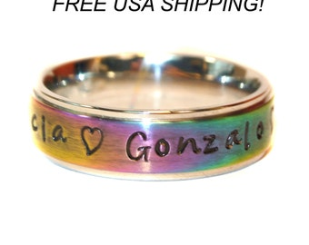 Hand stamped rainbow ring/ custom ring/ name ring/stainless steel ring/ personalized ring