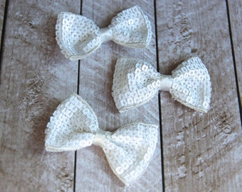 """Set of 3 2.75"""" White Sequin Bow Ties - For DIY Headbands & Accessories"""