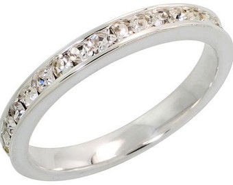 """Sterling Silver Eternity Band, w/ April Birthstone, Clear Crystals, 1/8"""" (3mm) wide"""