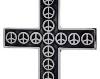 Sterling Silver Large Peace Sign Cross Pendant Handmade, 2 1/2 inch
