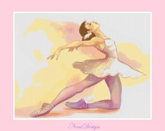 Cross stitch pattern - Ballerina pastel colors - Instant Download!