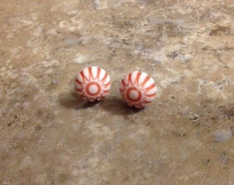 Red mosaic cabochon earrings white and red etched post earrings vintage style studs 2nds discounted posts