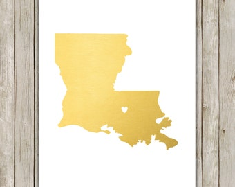 8x10 Louisiana State Print, Geography Wall Art, Metallic Gold Art, Louisiana Poster, Office Art Print, Home Decor, Instant Digital Download