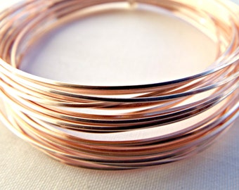 Rose Gold Wire, Square Wire, 20 Gauge Wire, Colored Copper Wire, 0.8mm Wire, Wire Wrapping, Jewelry Wire, Craft Wire, Wire Coil, UK Seller