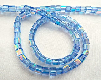 150 Blue Glass Beads, Blue Square Beads, 4x4mm Cube Beads, Square Glass Beads, AB Coated, Cube Beads Blue AB, UK Seller, Jewelry Supplies