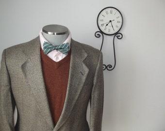 Vintage AUSTIN REED  Glen Plaid Blazer / Beige & Grayish Blue Suit Jacket / Sports Coat / Size 42 R - Large
