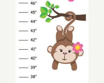 ON SALE Personalized Pink Hanging Monkey Canvas Growth Chart