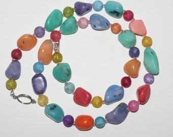 Fruity pastel chunky stone and glass bead necklace