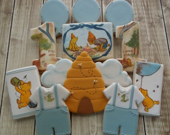 Classic Winnie the Pooh Cookies, Pooh Cookies, Disney Cookies, Classic Pooh, Cookie Favors, Birthday