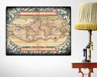 Old World Map Canvas Print, Antique Canvas World Map, Large Canvas Print, World Map Art, Travel Decor, Office Decor, Library Decor