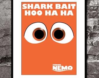 Nemo (Shark Bait) - Finding Nemo - Disney Pixar Inspired - Movie Art Poster