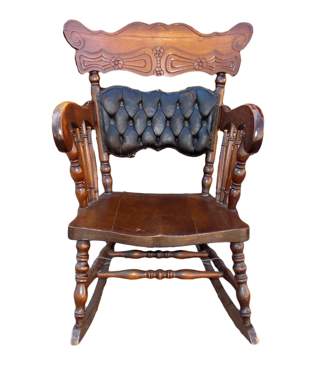Vintage Carved Tufted Leather Back Oak Rocking Chair – Vintage Porch ...